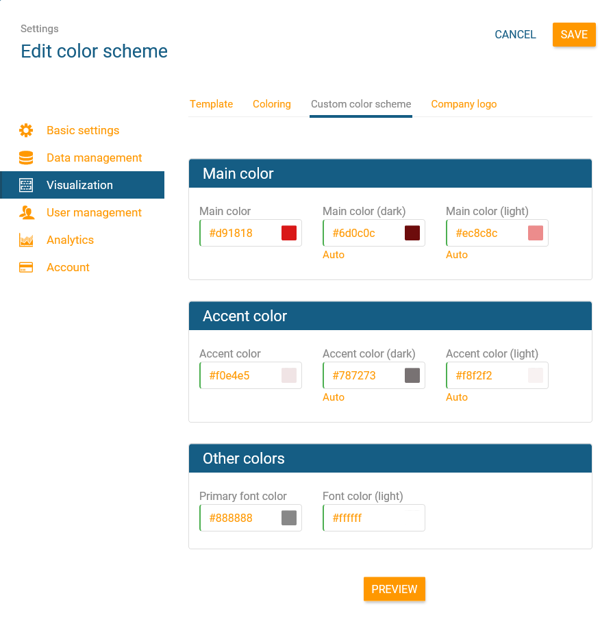 Create an idividual color scheme for your org chart in orginio