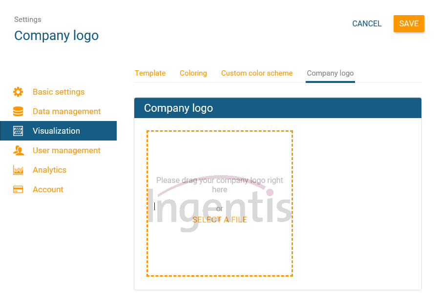 Upload your company logo to your org chart in orginio