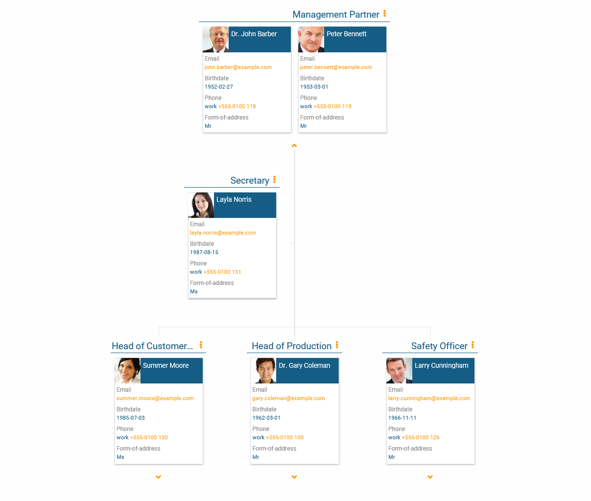 The person details view in the org chart in orginio