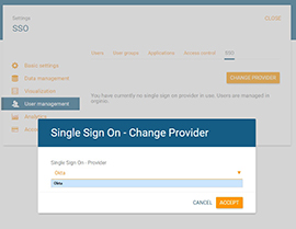 Set provider for single sign on in orginio