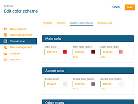 Edit the color scheme of your online org chart in orginio