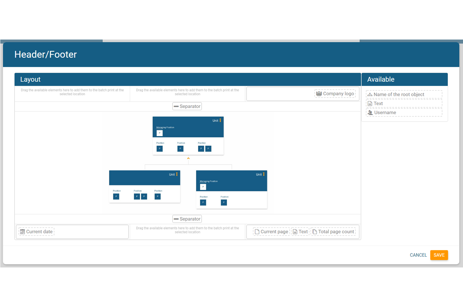 Adjust header and footer for your org chart in orginio