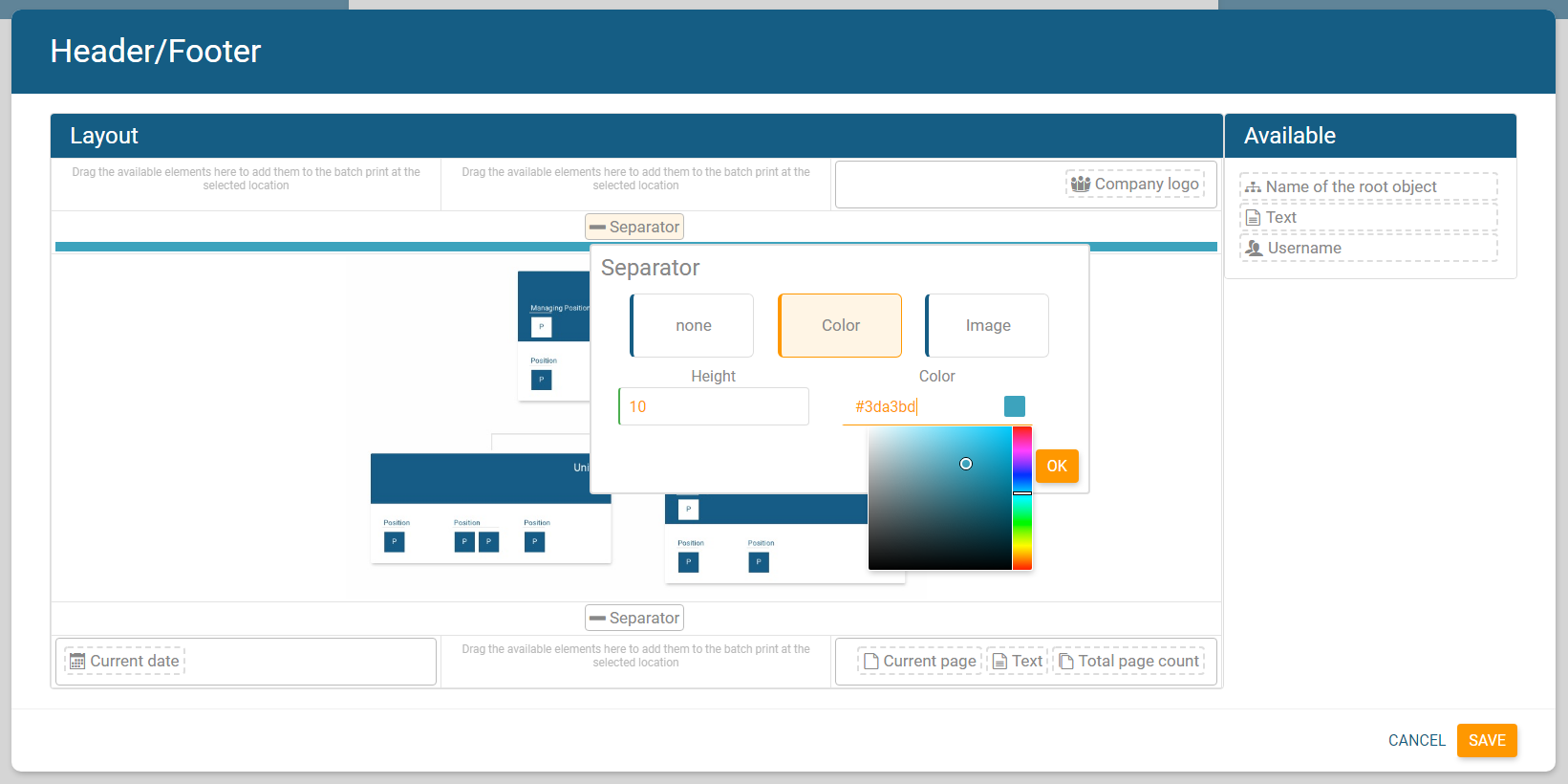 Adjust colors of header/footer in orginio to fit your corporate design
