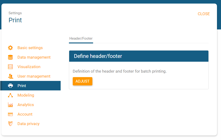 Define the header/footer of your online org chart in orginio