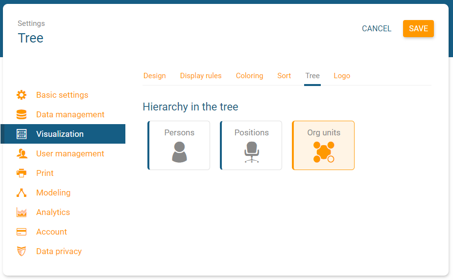 orginio settings to define an alternative hierarchy in the tree