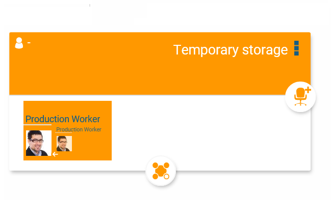 Temporary storage function for org chart objects in orginio