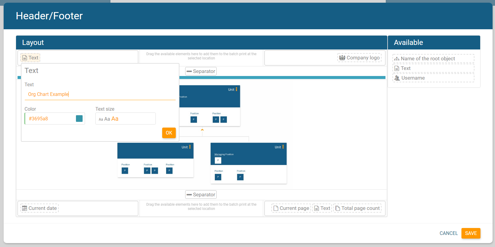 Add customized text fields to header/footer of your online org chart in orginio.