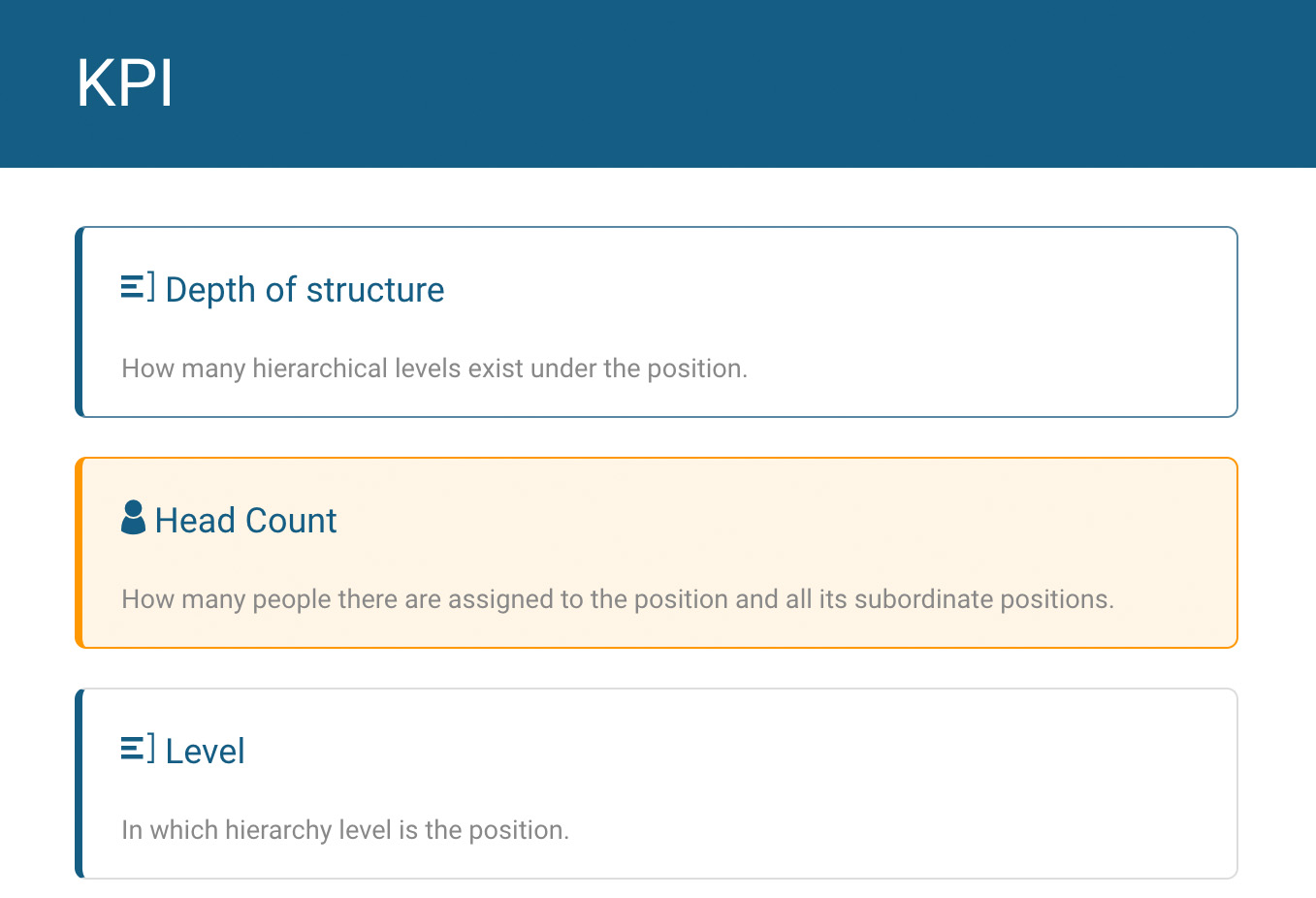 Choose key figures for the online org chart in orginio