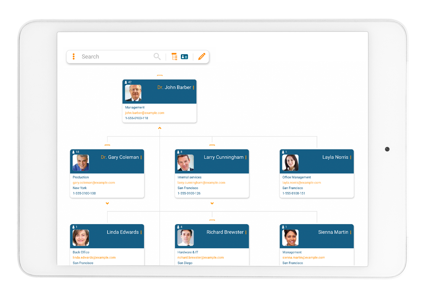 Access team structures in your online org chart with orginio