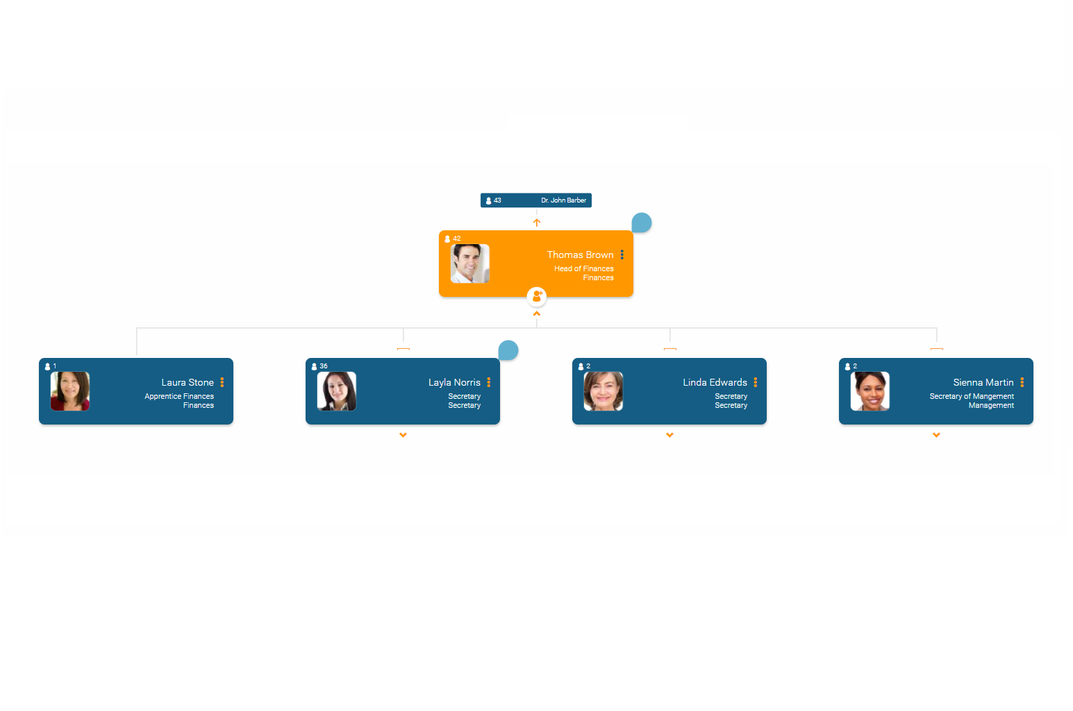 Determine visualization rules for the org chart in orginio