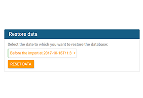 Choose date from which you want to restore data in orginio