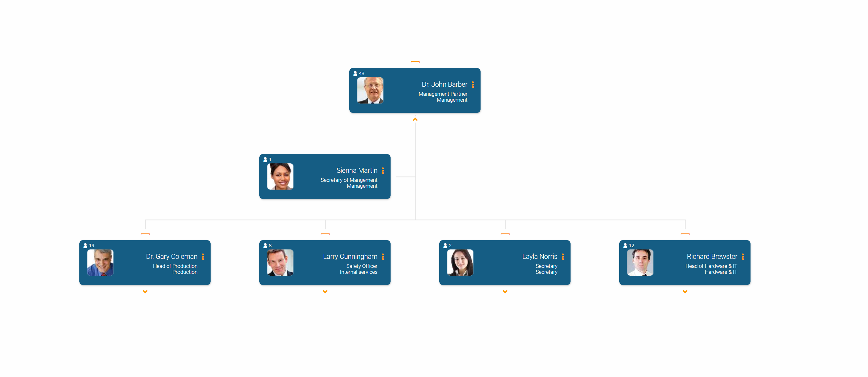 Online org chart created with orginio