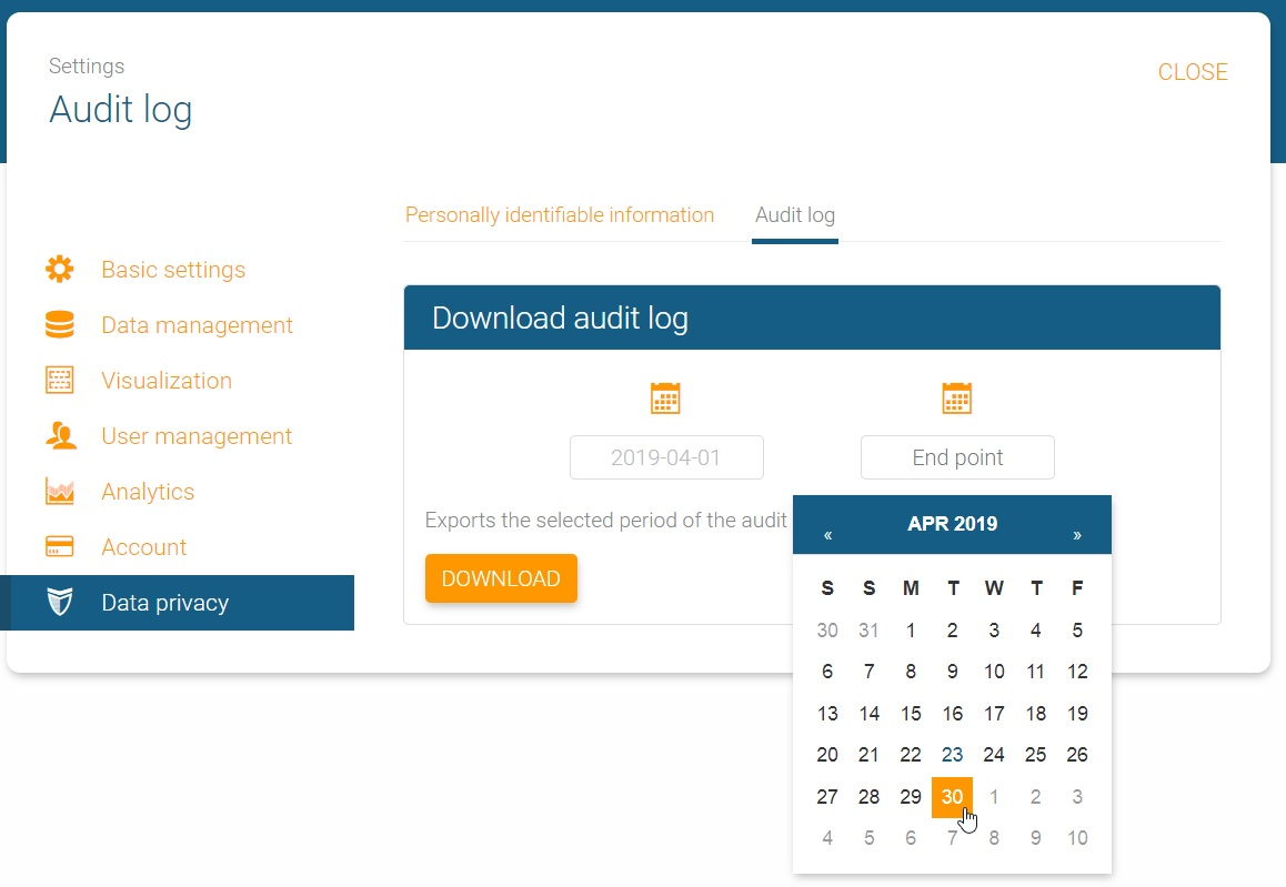 Choose start and end point for the audit trail in orginio