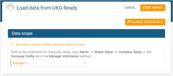 Define the data scope for UKG Ready import
