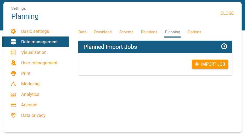 Set data import jobs in orginio