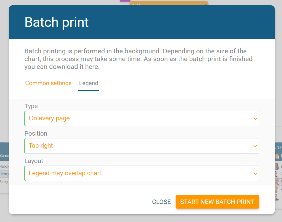 Determine in the printing settings if and how the legend is printed.