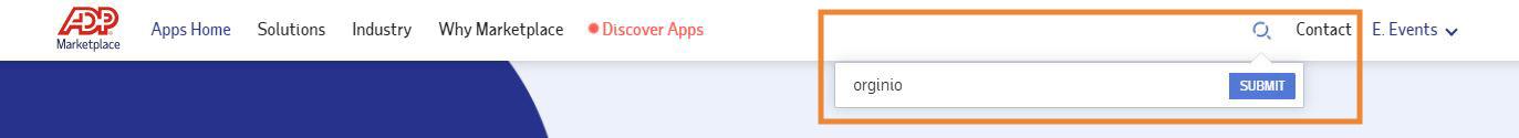 Search orginio on the ADP Marketplace