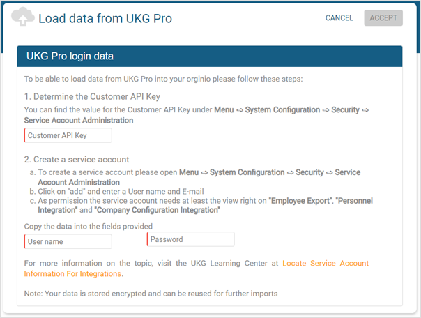 Follow the indicated steps to connect orginio and UKG Pro