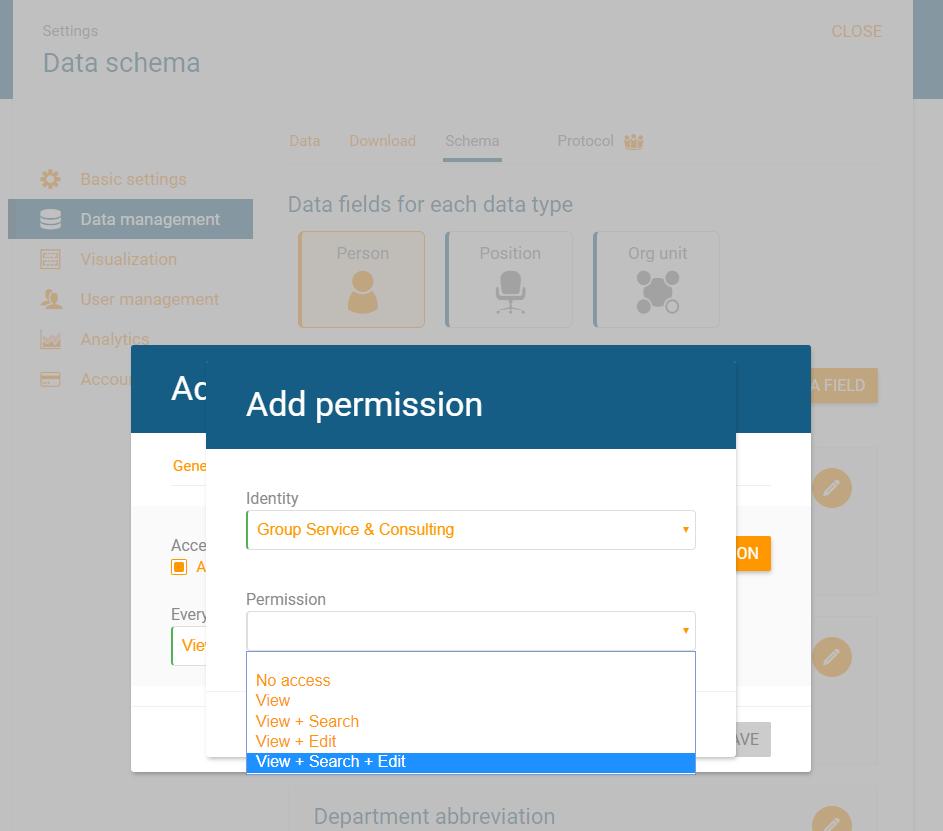 Add access permissions to certain data fields in orginio